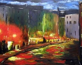 Street Lights - Original Abstract City Scape Acrylic Painting