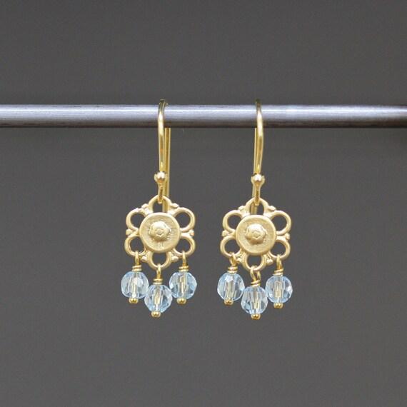Faceted Blue Topaz Mini Chandelier Earrings with 18k Gold Vermeil Links