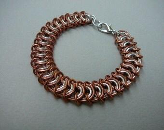 Chain maille bracelet copper and aluminum vertebrae