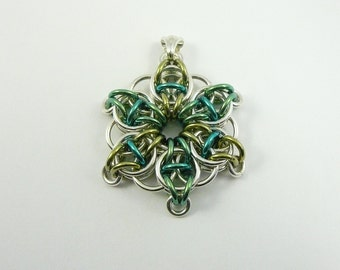 Chain maille star flower pendant sterling silver and green anodized niobium