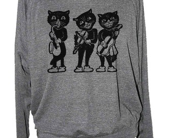 Womens CAT with GUITAR sweatshirt long sleeve raglan pullover-- american apparel S M L -- (5 Color Options) z skip n whistle