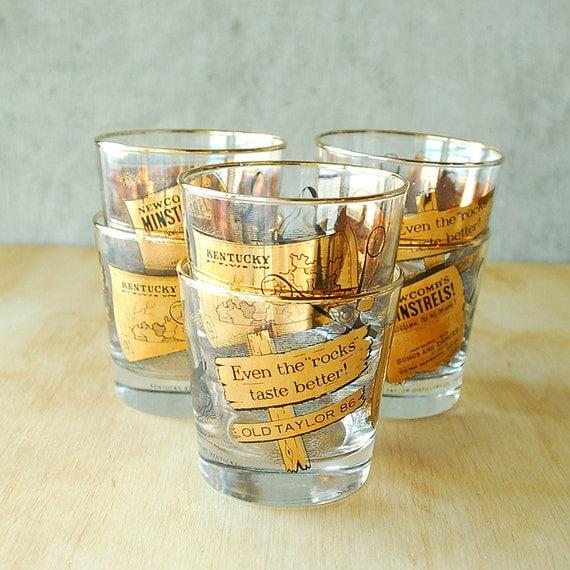 6 Vintage Gold Leaf Rocks Glasses - Old Taylor Distillery Co. Bourbon Whiskey Cocktail NIB