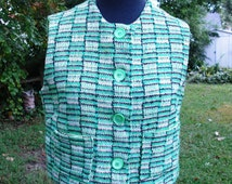 Womens 50s Vest / Green Vest/ Vintage Vest/ 50s Suit Vest in Green, Black and White by Ruth Midgette Size 8