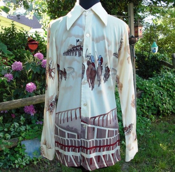 Men's 70's Disco Shirt with Polo Players by Marcel of Paris Estimated Size M Vintage disco Shirt 70s Shirt