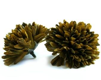 2 Mini Olive Green Mums - Artificial Flowers, Silk Flower Heads