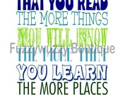 Instant Download - Dr. Seuss Reading Quote Printable Children's Art - Blues and Greens