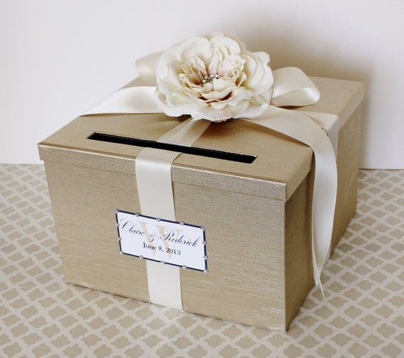 Wedding Card Box Champagne Gold Ivory Money Holder by LittleDivine