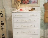 Painted Cottage Chic Shabby White Romantic Dresser CH384