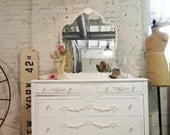 Painted Cottage Chic Shabby  White Romantic Dresser and Mirror DR431