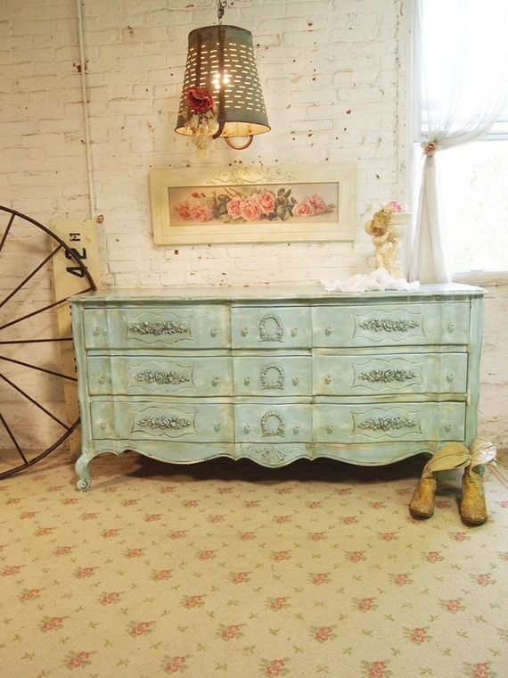 Painted Cottage Chic Shabby Aqua French Dresser DR386