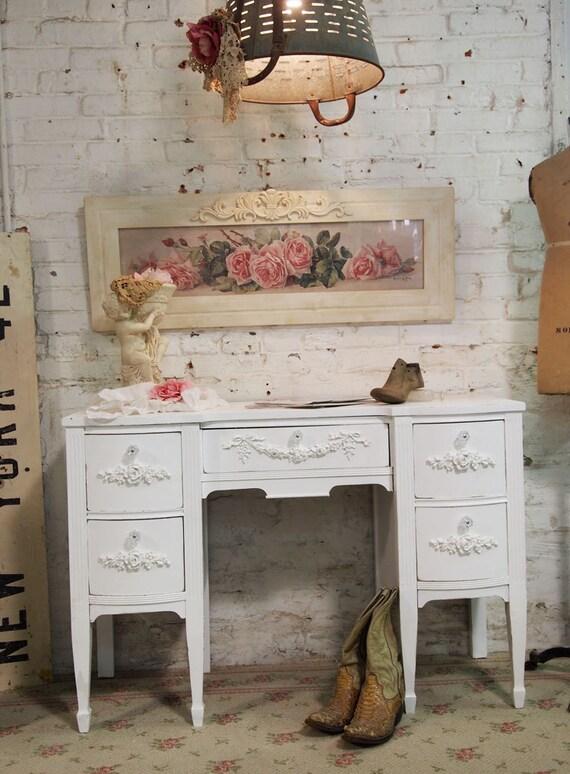Painted Cottage Chic Shabby White Romantic Desk DK272