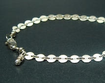 Silver Bracelet, Chain Bracelet, Silver Coin Bracelet, Sterling Silver Disc Chain, Circle Bracelet, Modern, Minimalist, Simple, 7 Inch