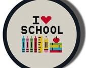 I Heart School Cross Stitch Pattern PDF