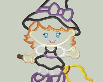 Cute Little Witch Applique Design