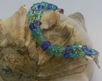 Sea Green and Blue Crystal Chain Maille Bracelet