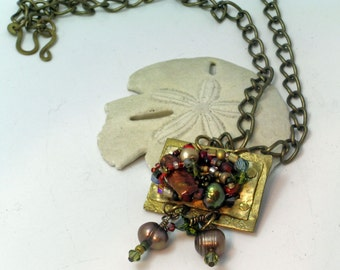 Bohemian Crystal and Pearl Brass Necklace
