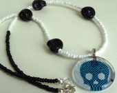 Blue White and Black Emo Necklace Scene Emo Jewelry Rockabilly Psychobilly Tattoo Jewelry Skulls Crosses Rebel Jewelry Punk Rock Girly