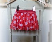 Red and White Polka Dot Baby Circle Skirt - size 3 months