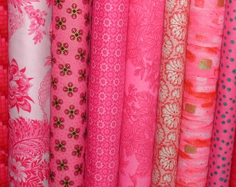 Pink Jelly Rolls-Fabrics/Design Rolls/Quilting Strips-2.5x44 inches-40 Strips/pkg-Beautiful Pink Assorted Fabrics to Quilt or Sew