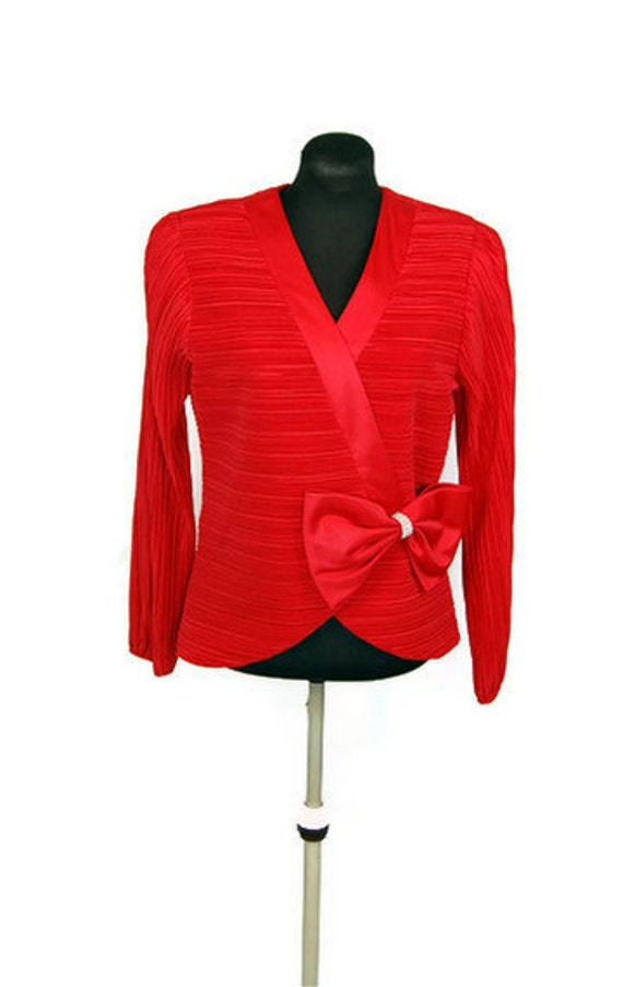 Red Dressy Blouse Scarf Blouse Top