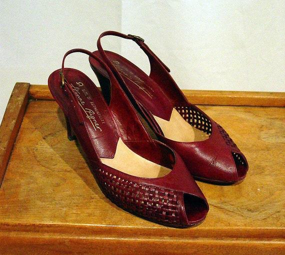Vintage Aigner oxblood shoes woven leather peep toe slingback pumps heels Size 8N