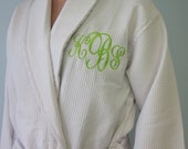 Monogrammed Robe - Calf-Length, Waffle Weave Spa Robe for Men and Women - you choose the monogram color