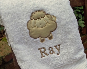 Monogrammed Kids Bath Towel with Lamb Applique -  perfect for the beach, bath or pool