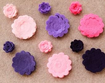 Fairytale Princess - 3D Rolled Roses - 24 Die Cut Felt Flowers - Unassembled Rosettes