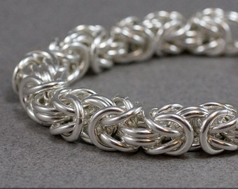 Hefty Sterling Byzantine Bracelet 12 gauge 12g Sterling Silver Handmade Chainmaille