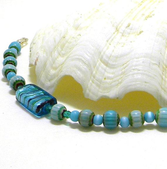 Beaded Bracelet, Blue Beaded Bracelet, Blue Lampworks Bracelet, Fashion Bracelet, Glass Bead Bracelet, Women's Bracelet, Women's Jewelry