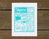 Flapjacks | Kitchen Art Print | Silkscreen Print | Turquoise | Made in the USA