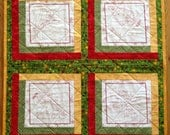 Coloring Book Quilt, Child Christmas Holiday Gift: Toddler, Baby, Infant or Youth, Red Green Gold