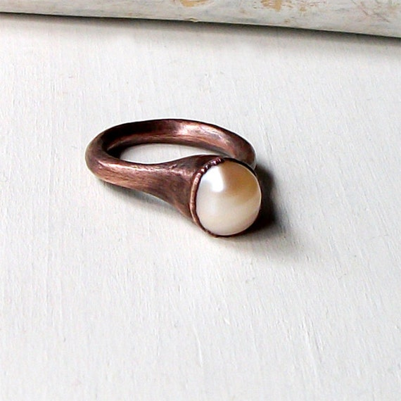Champagne Golden Cream Pearl Copper Ring June Birthstone Raw Gem Stone Crystal Artisan Handmade