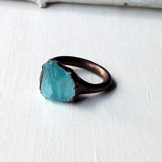 Apatite Copper Ring Simple Modern Deep Blue Green Artisan Handmade