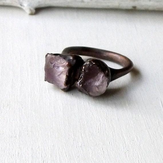 Copper Ring Rose de Amethyst Purple Violet Lilac Raw Gem February Birthstone Artisan Handmade