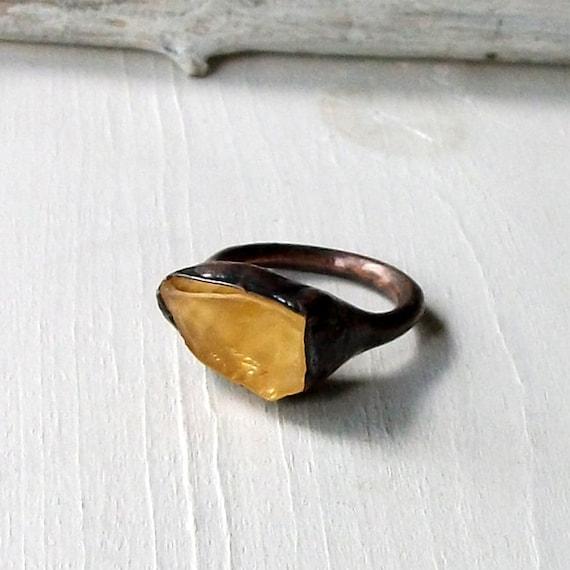Copper Ring Citrine Ring Gem Stone Sunshine Citrus Yellow Artisan Handmade
