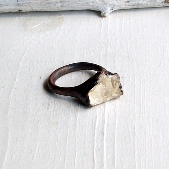 Copper Ring Scapolite Crystal Straw Pale Gold GemStone Natural Raw Patina Handmade Artisan