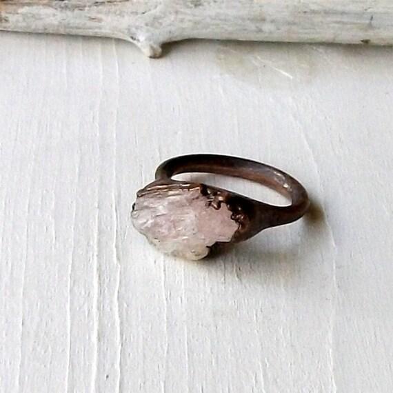 Copper Ring Raw Rose Quartz Crystal Ice Natural Gem Stone Patina Artisan Handmade