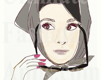 Greeting Card Set of Fashion Art Illustrations