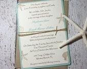 DEPOSIT Aqua Beach Wedding Invitations/Wedding Invitations/Tropical Wedding Invitations