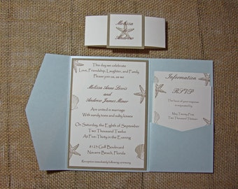 Blue Pocketfold Beach Wedding Invitations - Aqua Beach Wedding Invitation- Aquamarine Shimmer Invitation - DEPOSIT to get started