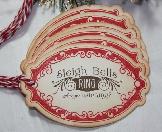 Sleigh Bells Christmas Gift Tags