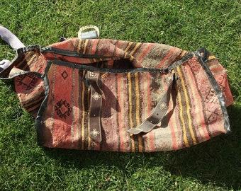 Unusual Woven Kilim Hold all/Saddle Bag/Carpet Bag