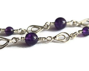 SALE Amethyst and Silver Bracelet with Double Teardrop Links