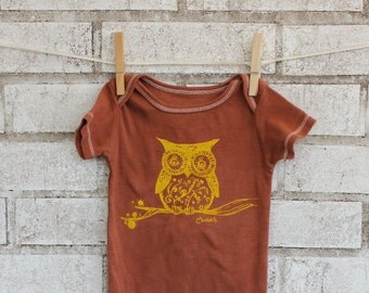 Owl Baby Bodysuit, Cotton Baby Onepiece, rust or custom colors, woodland animal, brown, yellow