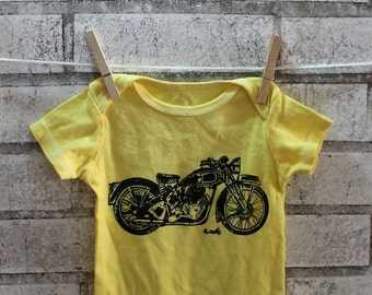 Motorcycle Infant Creeper, Cotton Snapsuit, Yellow, Baby Bodysuit, LEMON YELLOW, onepiece bodysuit