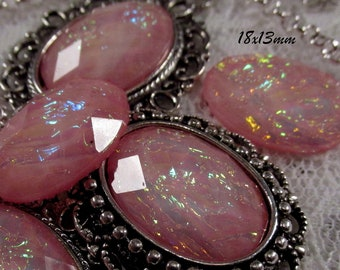 18x13mm - Rose Opal - Faceted Acrylic Cabochon - 5 pcs : sku 11.24.12.11 - E20