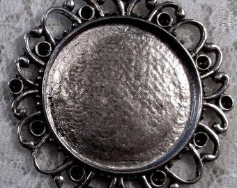 25mm Round - Antique Silver - Alloy Setting - 'Sunny I' - 1 pc : sku 11.28.12.1 - T10