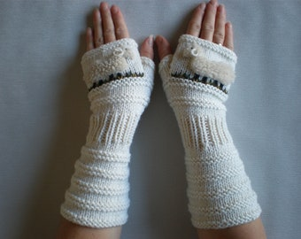 Hand-knitted white  wrist warmers with hand needlecrafted sheep