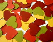 Autumn foliage wedding - 100 paper hearts confetti for a fall wedding - chesnut, olive, copper, yellow hearts - one inch - CartesdeBelleville